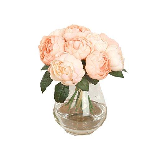 Winkey 1 Bouquet 6 têtes Feuilles de fleur de Pivoine en soie artificielle Home Décor de fête de mariage, rose, 3.15-3.5inch / 8-9cm
