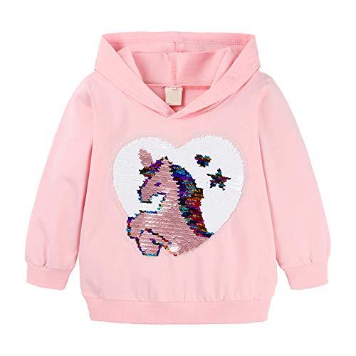 JEATHA Kinder Mädchen Hoodie mit Pailletten Kapuzenpullover Cartoon Muster Sweatshirt Langarm Pullover Basic T-Shirts Baumwolle Pulli Kapuzenshirt Kinder Kleidung Rosa 122-128