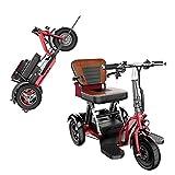 Elektromobil Klappbar, Leichter Elektrischer 3-Rad-Handicap-tragbarer Elektrorollstuhl Kompakter Mobiler Faltbarer Dreirad-Roller Mit Sitz Für Erwachsene Senioren Behinderte Reisen (48V20AH/55-60KM)