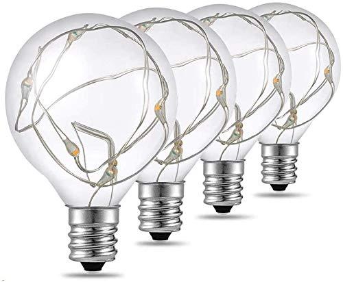 Quntis 4er Pack G40 LED Glühbirnen E12 Sockel, 0,1W Energiesparend, IP65 Wasserdicht Ersatzbirne für Garten Party Lichterkette Innen/Außen (Niederdruck)