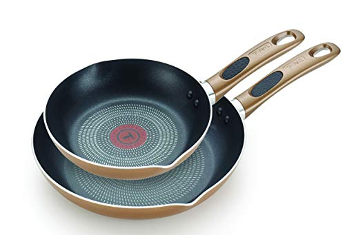 T-fal B036S2 Excite ProGlide Nonstick Thermo-Spot Heat Indicator Dishwasher Oven Safe 8 Inch and 10.5 Inch Fry Pan Cookware Set, 2-Piece, Bronze