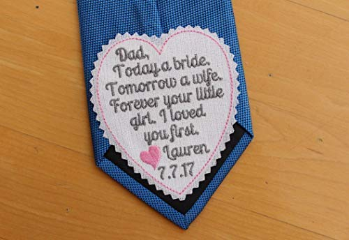 Dad I loved you first wedding heart Tie Patch, today a bride, tie label, Embroidered Patches,Father of the Bride Gift, iron-on available,TLH4