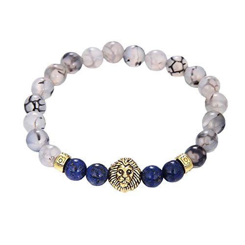 Wicemoon Unisex Jewelry Stone Bracelets Stretch Hand Chain Handmade Weathered Agate Owl Beaded Bracelet Adjustable (Agate Green Gold Lion Head B1084)