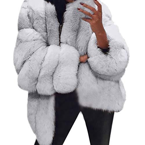 BaZhaHei Giacca Donna,Giacca Donna Pelliccia Ecologica Inverno Moda Caldo Manica Lunga Cappotto Donna Taglie Forti