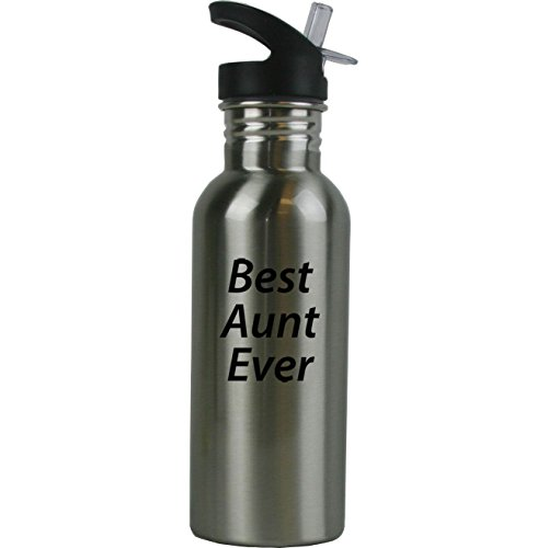 Personalized Custom Best Aunt Ever Stainless Steel Water Bottle with Straw Top 20 Ounce Sport Water Bottle Customizable