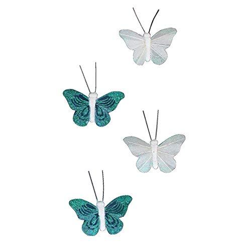 Mejores ventas - Imanes Plumas Cortina, Decoración De Mariposa KOH Samui, Color Blanco Y Negro, 4 Mariposas