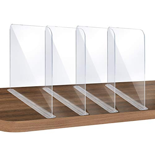 ROUFA 4Pcs Clear Acrylic Shelf Dividers, Adjustable Closet Organizer Fit for Any Thickness of Shelves, Multi-Purpose Wood Shelf Separators for Bedroom, Kitchen, Office, Bathroom, 11.8''x11''
