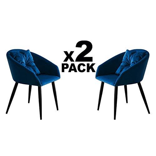 Adec - Dune, Pack 2 Butacas de Diseño, Sillon de Espera Fijo con Cojin, Estilo Nordico, Tapizada en Tejido Velvet Azul y Patas Color Negro, Medidas: 58 cm (Ancho) x 58 cm (Alto) x 75 cm (Fondo)