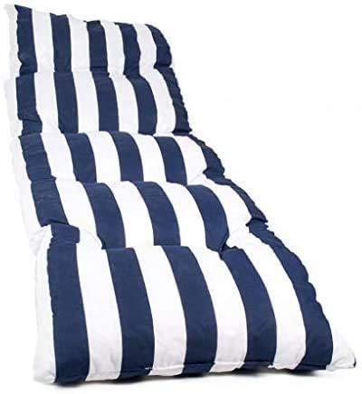 Dabuty Online, S.L. Pack de 2 Cojines de Tumbona Acolchada de Rayas 180 x 55 X 5 cm Colchón Texturas. Colchoneta Tumbona (Azul)