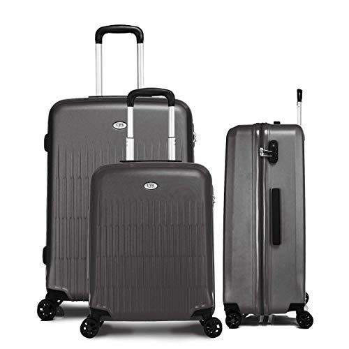 LYS Koffer-Set, 55-66-76 cm, starr, 100 % ABS, Dunkelgrau