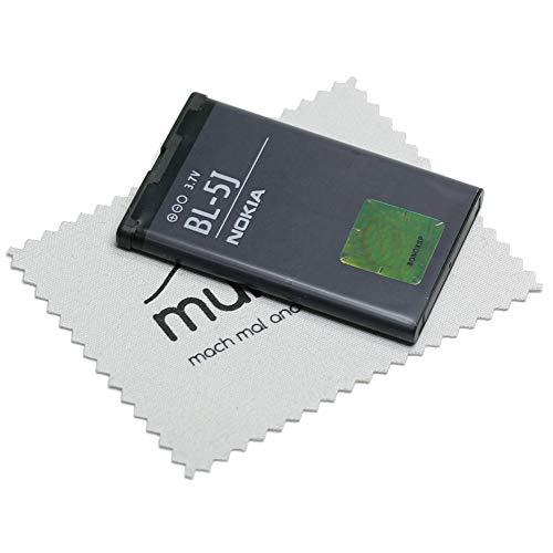 Batteria originale Nokia BL-5J per Nokia 200, 201, 302, 5228, 5230, 5235, 5800, C3, Lumia 520, Lumia 525, N900, X1, X6 con panno per la pulizia dello schermo mungoo