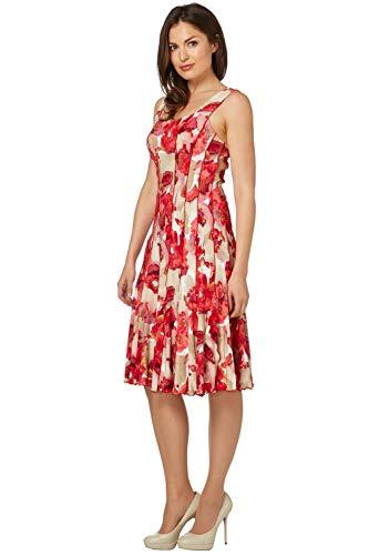 Roman Originals - Vestido para mujer con estampado floral, informal, para el día a día, la oficina, la boda, cómodo, cuello redondo, largo hasta la rodilla, estilo mediano