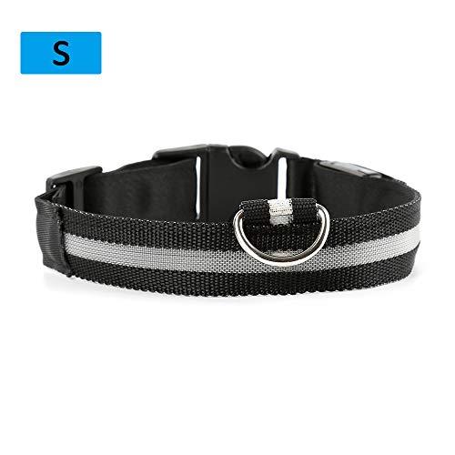 Vimoer veiligheidshalsband voor honden, led, nylon verlicht de halsband met knop, verstelbaar, knop, verstelbaar, halsband voor katten, huisdieren, S, Veelkleurig.