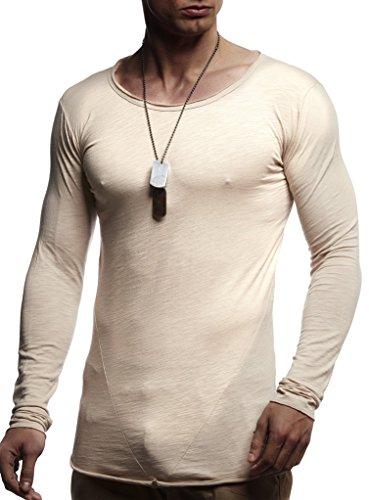 Leif Nelson Herren Langarm-Shirt Slim Fit Männer Sweat-Shirt mit Rundhals-Ausschnitt Longsleeve Basic Shirt mit U-Neck 100{24282d0b8dd85eee65577868a2ac9abee46b5e20edb82382c4f25940402a27ce} Baumwolle LN6302 Beige Medium