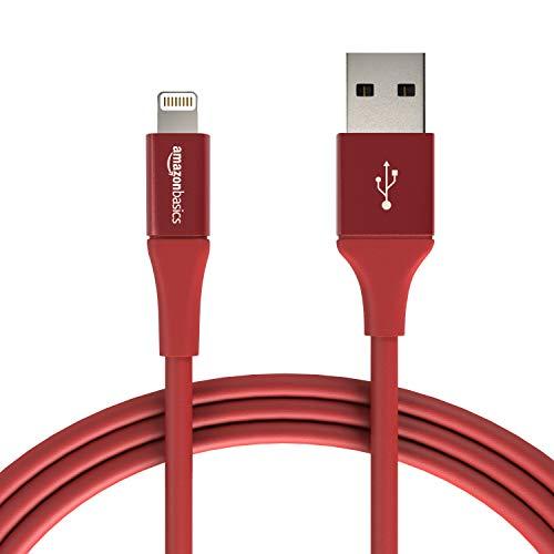 Amazon Basics - Cavo USB Tipo A cpm connettore Lightning, collezione Premium, 1,8 m, Confezione de 1 - Rosso
