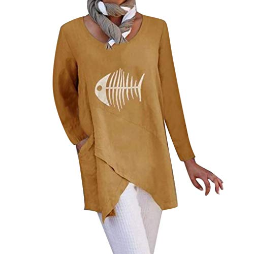 Smccvnvbv Vrouwen Katoen Linnen T-Shirt Plus Size Lange Mouw O-hals Leuke Print Blouse Topjes