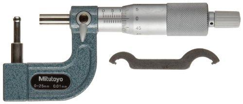 Mitutoyo 115–315serie 115Tubo micrometre, cilíndrico yunque, tipo C, alcance 0mm-25mm, 0,01mm graduación