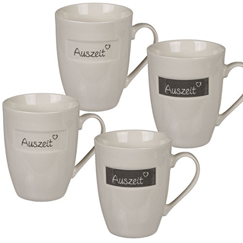Bada Bing 4er Set Tassen Auszeit Becher Kaffeetasse Kaffeebecher grau Creme Trend 22