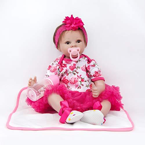 ZIYIUI Reborn Baby Mädchen 22''/55 cm Lebensecht Weiches Silikon Vinyl Reborn Baby Toddlers Mädchen Neugeborenes Spielzeug Weihnachts Geschenk