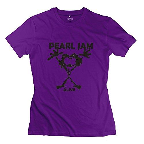 KST Pearl Jam de la Mujer Banda Logo Camiseta Manga Corta Deporte