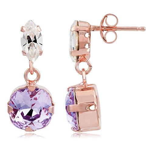 Córdoba Jewels | Pendientes en plata de ley 925 bañada en oro rosa con cristales by Swarovski con diseño Circle Oval Swarovski Lila Rose Gold
