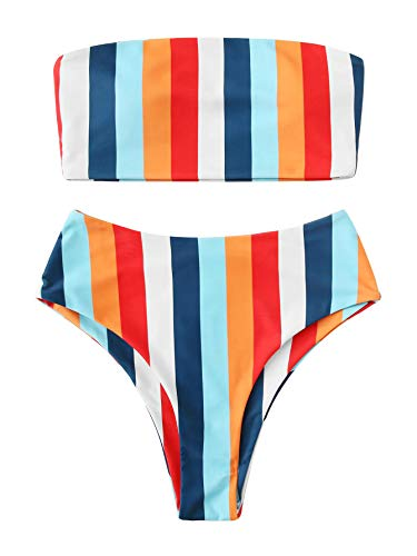 SweatyRocks Women's Bathing Suits Striped Bandeau Bikini top high Waisted Swimsuits Swimwear Set Multi-3 Large.