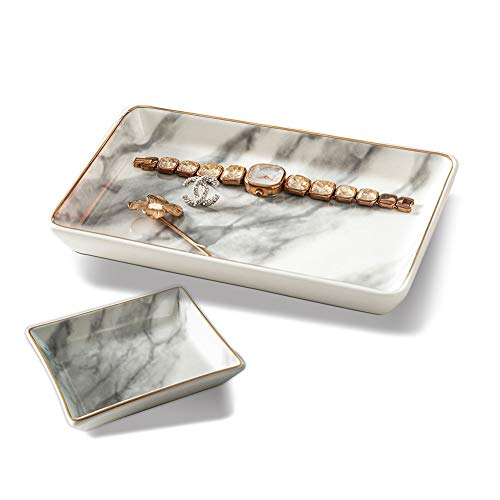 OKINDOLIFE Jewelry Dish Tray,Trinket Dish Tray Decor White Marble Ceramic Jewelry Plate Tray Ring Holder Dish for Jewelry with Golden Edged Home Decor Wedding Best Friend Valentine's Gift for Women