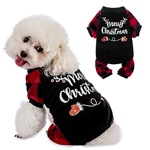Christmas Dog Pajamas - Soft Comfortable Dog Sweater Warm Pet Winter Clothes Classic Plaid Puppy Pajamas, Large