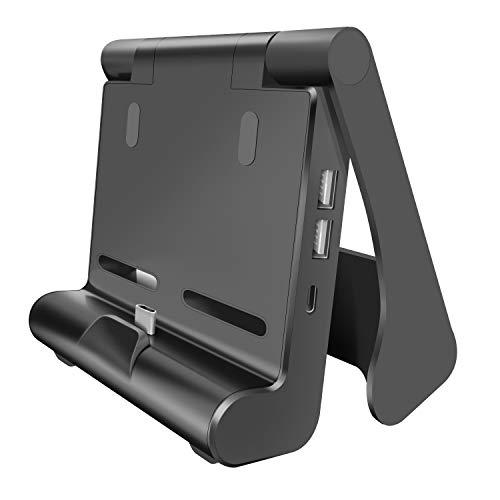 【最新ミニサイズ】Switch ドック 小型 TV出力 HDMI変換 放熱対策 ドック替換 折りたたみ可 持ち運び簡単 ミニドック 充電スタンド 3つUSBポート搭載 最新システム確認 For Nintendo Switch