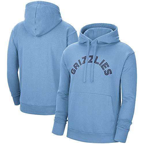 BMSD Sudaderas con Capucha Hombre Jersey NBA Grizzlies Azul Moda Deporte Estampado de béisbol Uniforme Sudaderas de Manga Larga, XXL