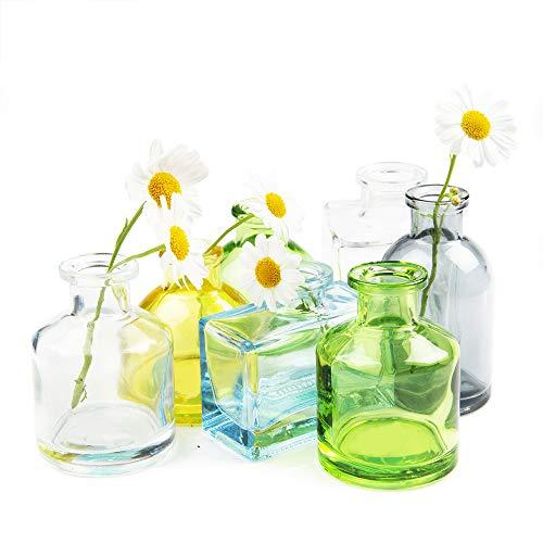 Chive - Loft, Small Glass Flower Vases, Decorative Rustic Floral Vases for Home Decor Centerpieces, Events, Single Flower Bud Vase, Vintage Look - Bulk Set (Assorted Colored Bulk 7)