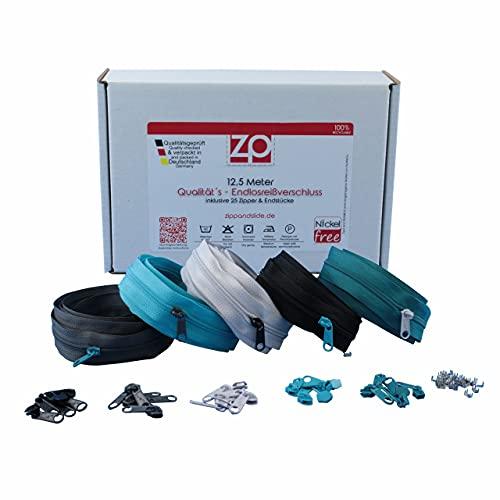 ZIPP AND SLIDE - Endlos Reißverschluss Set mit Zipper 3mm 12,5 Meter - nickelfrei - Farbsetnr. 7 Das Original