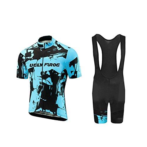 Uglyfrog Herren Radtrikot Fahrrad Trikot Kurzarm Radhose Fahrradbekleidung Set Quick-Dry UV-beständig