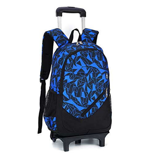 Wheeled Laptop Backpack,Overnight Rolling Laptop Backpack, Water Resistant Wheeled Rucksack Business Travel Trolley Bag, With pencil case and shoulder bag-blue-2rounds