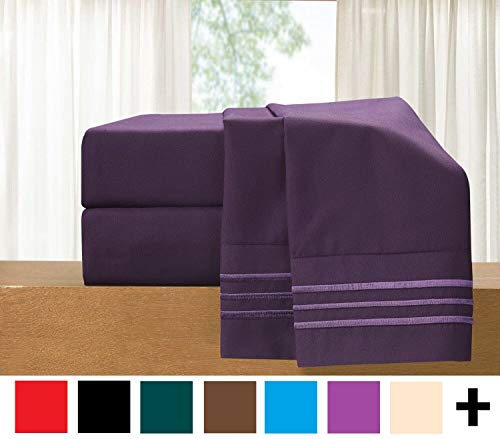 Luxury 4Piece Bed Sheet Set  Luxury Bedding 1500 Thread Count Egyptian Quality  Wrinkle and Fade Resistant Hypoallergenic Cool amp Breathable Easy Elastic Fitted