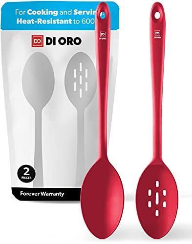 DI ORO® - Set cucchiai da cucina - Antiaderenti e resistenti al calore 315°C - Cucchiaio forato et solido per mescolare e servire - Silicone professionale certificato LFGB e senza BPA