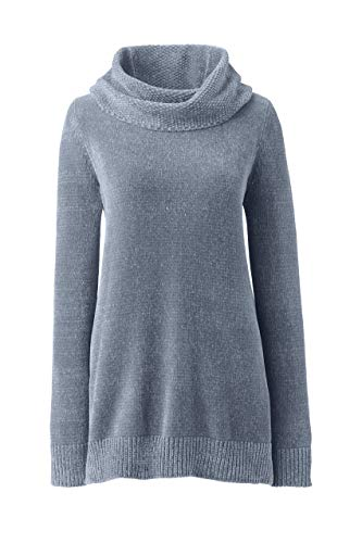Lands' End Women's Chenille Tunic Sweater Cowl Neck Small Platinum
