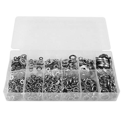 Arandela redonda, 790 piezas Arandela de acero inoxidable Ronda plana/Juego de surtido de arandelas de resorte para usos múltiples