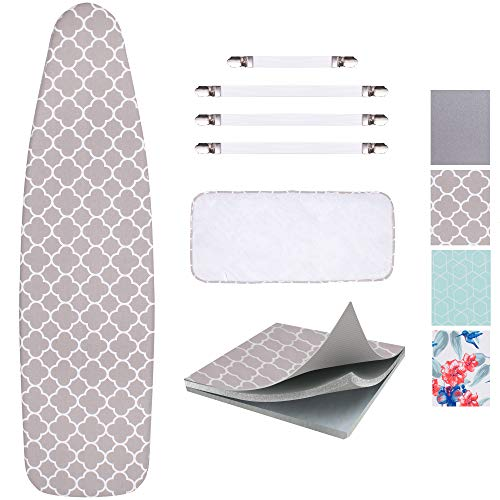 SUNKLOOF Scorch Resistance Ironing Board Cover and Pad Resists Scorching and Staining Ironing Board Cover with Elasticized Edges and Pad 15quotx54quot 4 Fasteners and 1 Large Protective Scorch Mesh Cloth