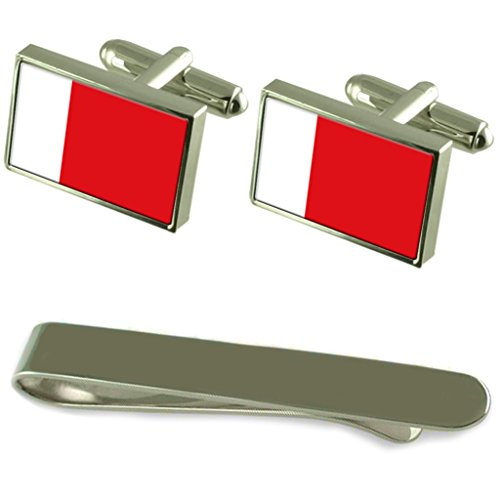 Select Gifts Dubai Fahne Silber Manschettenknöpfe Krawatten Clip Box Set