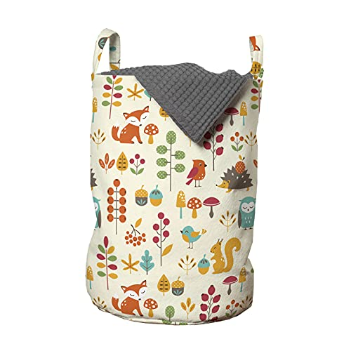 ABAKUHAUS Kinder Wäschesack, Owl Fox-Eichhörnchen Vögel, Wäschekorb mit Griffen Kordelzugverschluss für Waschsalons, 33 cm breit x 49 cm hoch, Mehrfarbig