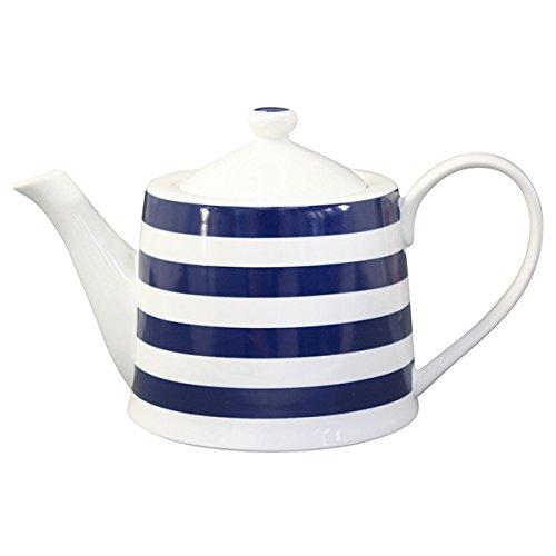 Krasilnikoff - Teekanne - Teapot - blau weiß gestreift - 1 l - Porzellan