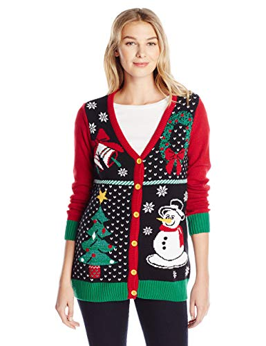 Ugly Christmas Sweater Company Women's Assorted Xmas Cardigan Sweaters, Emerald Button-Front Christmas...