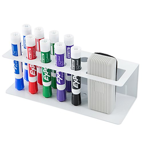 10-Slot Wall-Mounted Metal Dry Erase Marker and Eraser Holder Rack, White