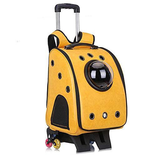 CWCD Mochila para Mascotas Carretilla de Mascotas Caja de Carretilla de Perro Bolsa de Perro Bolsa de Espacio Transpirable Mascota de Mascota para Perro Gato Al Aire Libre más seguro/Amaril