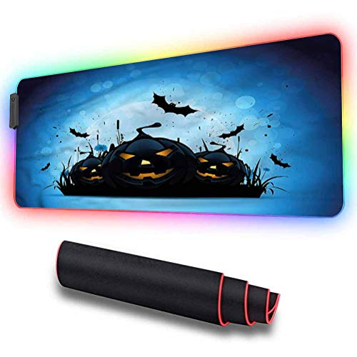 RGB Soft Gaming Mouse Pad Large, Halloween,Scary Pumpkins in Grass, Extended RGB Mouse Pad Ideal for Quicker Mouse Movements - Non-Slip Rubber Base, 31.5 x 11.8in