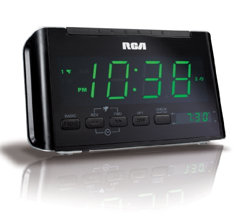 RCA RC40R Dual Wake Clock Radio with Large Green LED Display (Discontinued by Manufacturer)