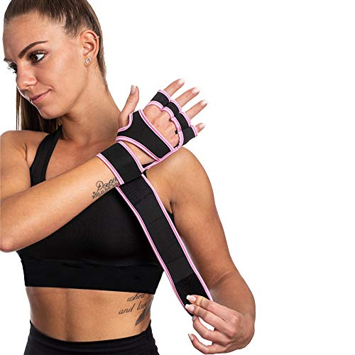SINOVATI® Fitness Handschuhe,Trainingshandschuhe,Gewichtheben Handschuhe für Bodybuilding, Crossfit, mit Handgelenkbandage Damen/Herren (Pink, S)