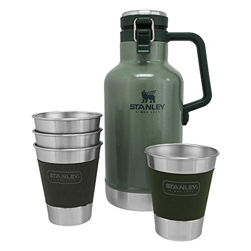 Stanley Classic Outdoor Growler Gift Set, 64oz Beer Growler with 4 Metal Tumblers, Stainless Steel Vacuum Insulated Beer Container Kit