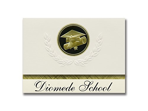Diomede Schulankündigungen, Diomede, AK, Schulabschluss, Präsidential-Stil, Grundpaket mit 25 Kappen und Diplom-Siegel. Schwarz & Gold.